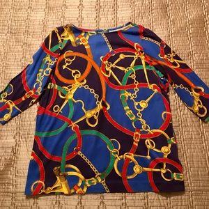 New Lauren colorful cotton top, size 1X